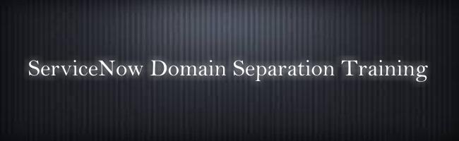 ServiceNow Domain Separation Training
